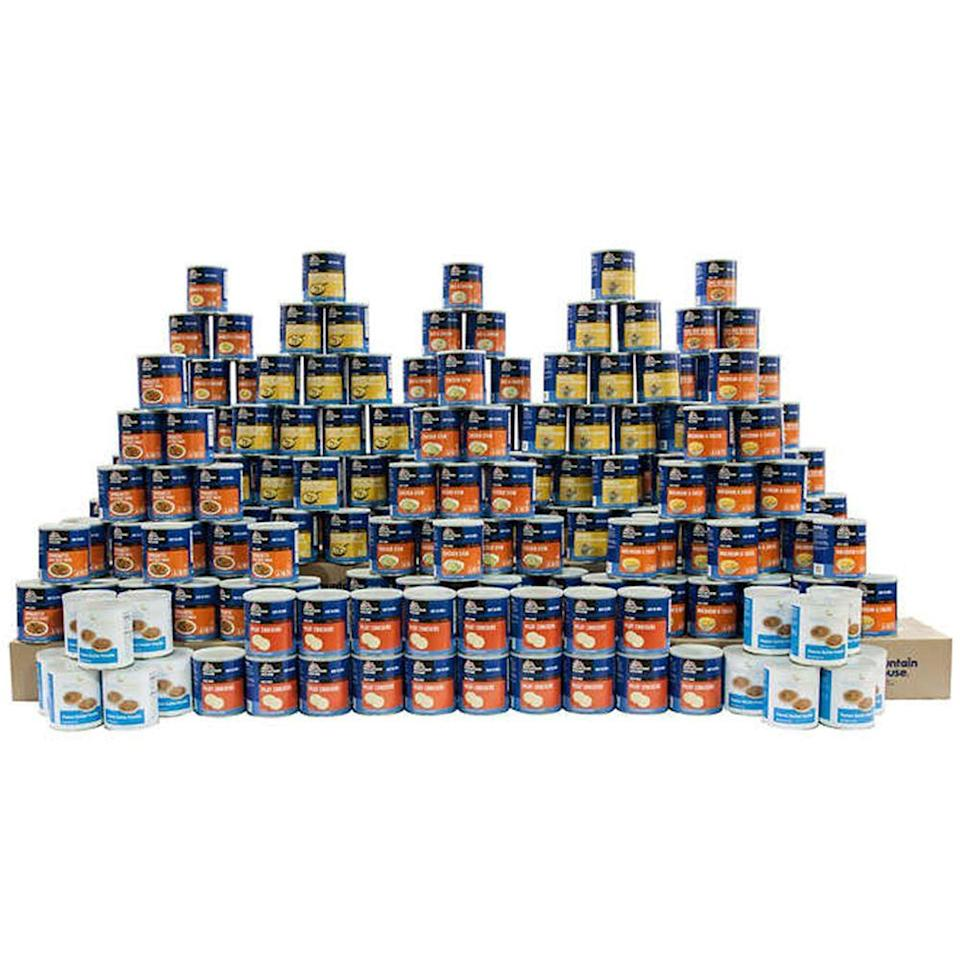 <p>You can buy some major survival kits from Costco. For $4,999 you can get a massive kit with 3,986 individual servings of food, which can feed one person three times a day for a whole year.</p>