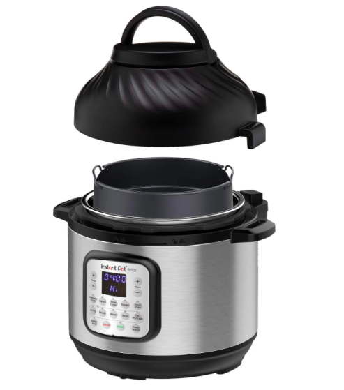 """<h2>Instant Pot Duo Crisp Pressure Cooker 11 in 1 with Air Fryer, 8 Qt</h2><br>Prime Day isn't Prime Day without a boatload of Instant Deals. Seriously — nearly every type of Instant Pot from the <a href=""""https://amzn.to/3duVhlq"""" rel=""""nofollow noopener"""" target=""""_blank"""" data-ylk=""""slk:programmable pressure cooker (58% at $49.99)"""" class=""""link rapid-noclick-resp"""">programmable pressure cooker (58% at $49.99)</a> to the <a href=""""https://amzn.to/370WTSL"""" rel=""""nofollow noopener"""" target=""""_blank"""" data-ylk=""""slk:multi-use sous vide cooker (53% off at 69.99)"""" class=""""link rapid-noclick-resp"""">multi-use sous vide cooker (53% off at 69.99)</a> is on sale today. Our shopping director's mom (shout out, Sabina!) has been waiting for the pressure-cooker-air-fryer hybrid to go on sale so today is at least <em>one </em>person's lucky day.<br><br><strong>4.7 out of 5 stars and 7,449 reviews</strong><br><br><strong>Instant Pot</strong> Duo Crisp Pressure Cooker 11 in 1 with Air Fryer, 8 Qt, $, available at <a href=""""https://amzn.to/36ZwrJ9"""" rel=""""nofollow noopener"""" target=""""_blank"""" data-ylk=""""slk:Amazon"""" class=""""link rapid-noclick-resp"""">Amazon</a>"""