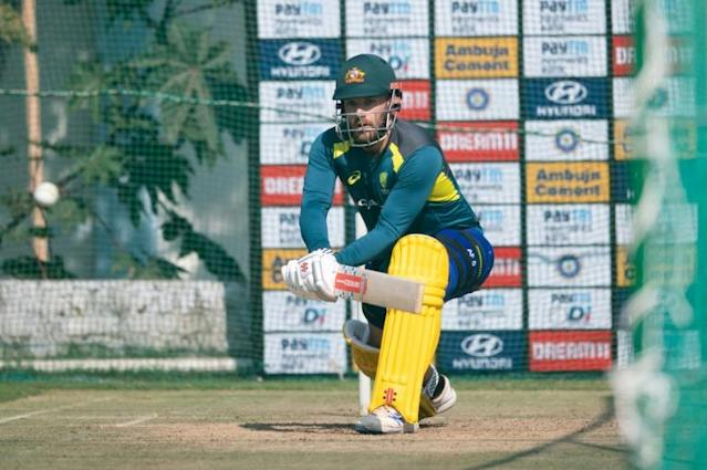 Australian skipper Aaron Finch during a net session ahead of the second ODI against India at Saurashtra Cricket Stadium in Rajkot (AFP Photo/Jewel SAMAD)