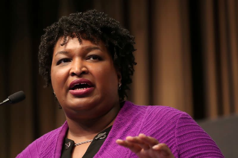 FILE PHOTO: Stacy Abrams (D), former gubernatorial candidate for Georgia, speaks at the 2019 National Action Network National Convention in New York