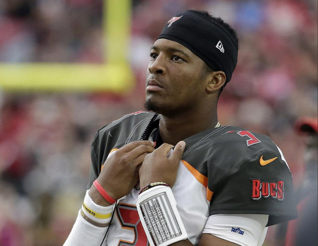 Tampa Bay Buccaneers quarterback Jameis Winston is being investigated for allegedly groping a female Uber driver in 2016. (AP Photo/Rick Scuteri)