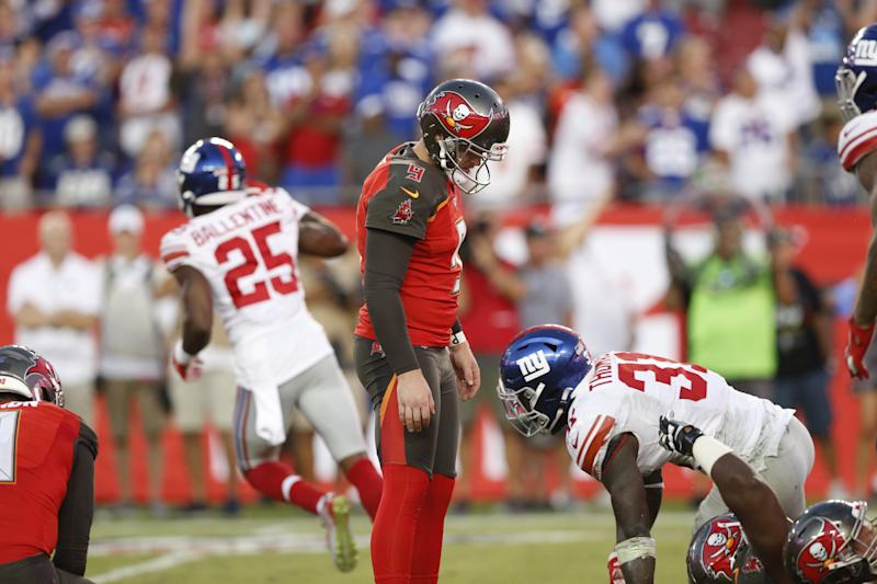 TAMPA, FLORIDA - SEPTEMBER 22: Kicker Matt Gay #9 of the Tampa Bay Buccaneers looks down dejectedly after missing what would have been the game-winning field as time expired during the game against the New York Giants at Raymond James Stadium on September 22, 2019 in Tampa, Florida. (Photo by Mike Zarrilli/Getty Images)
