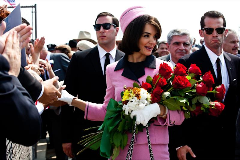 """In this publicity image released by ReelzChannel, Katie Holmes portrays Jacqueline Kennedy in a scene from the eight-part movie, """"The Kennedys,"""" premiering Sunday, April 3, 2011 on cable's ReelzChannel network. (AP Photo/ReelzChannel)"""
