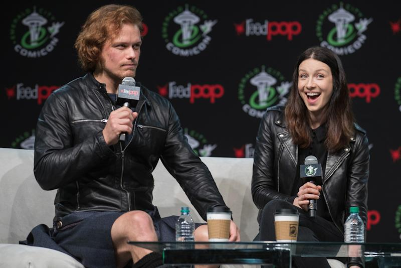 It's Weird to See Outlander Stars Sam Heughan and Caitriona Balfe in Normal Clothes