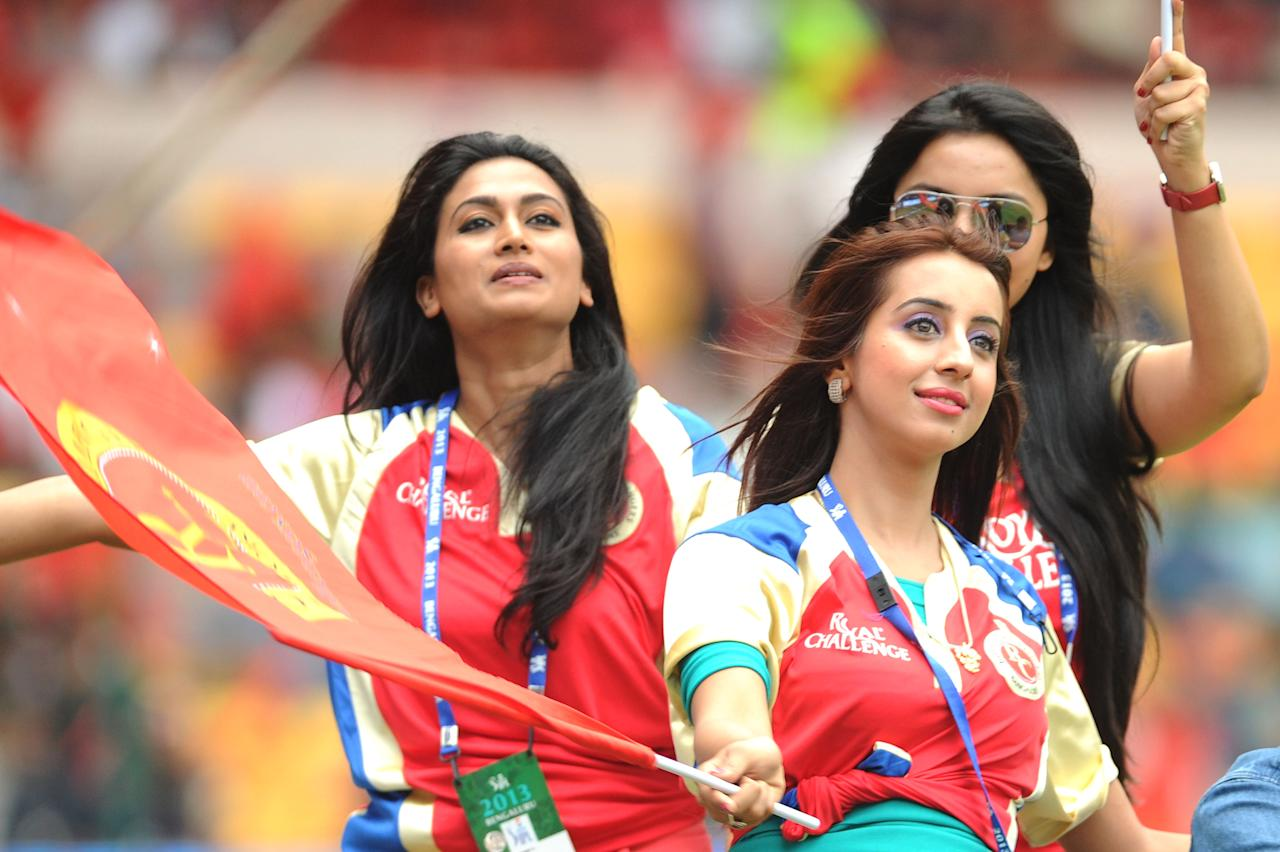 Celebrities during the match between Pune Warriors and Royal Challengers Bangalore at M Chinnaswamy Stadium in Bengaluru on April 23, 2013. (Photo: IANS)