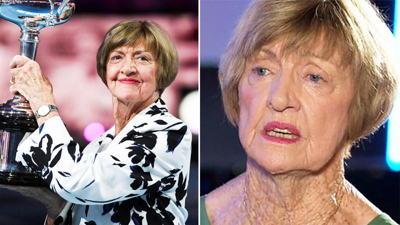 Margaret Court, pictured here claiming she was discriminated against by Tennis Australia.