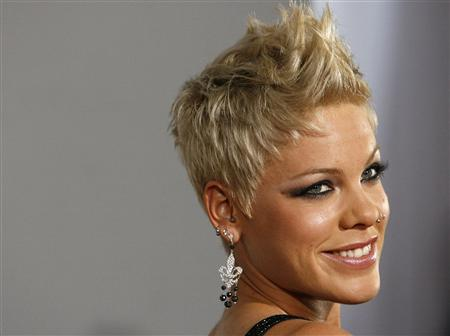 Pink poses at the 49th Annual Grammy Awards in Los Angeles in this February 11, 2007 file photo. REUTERS/Mario Anzuoni/Files