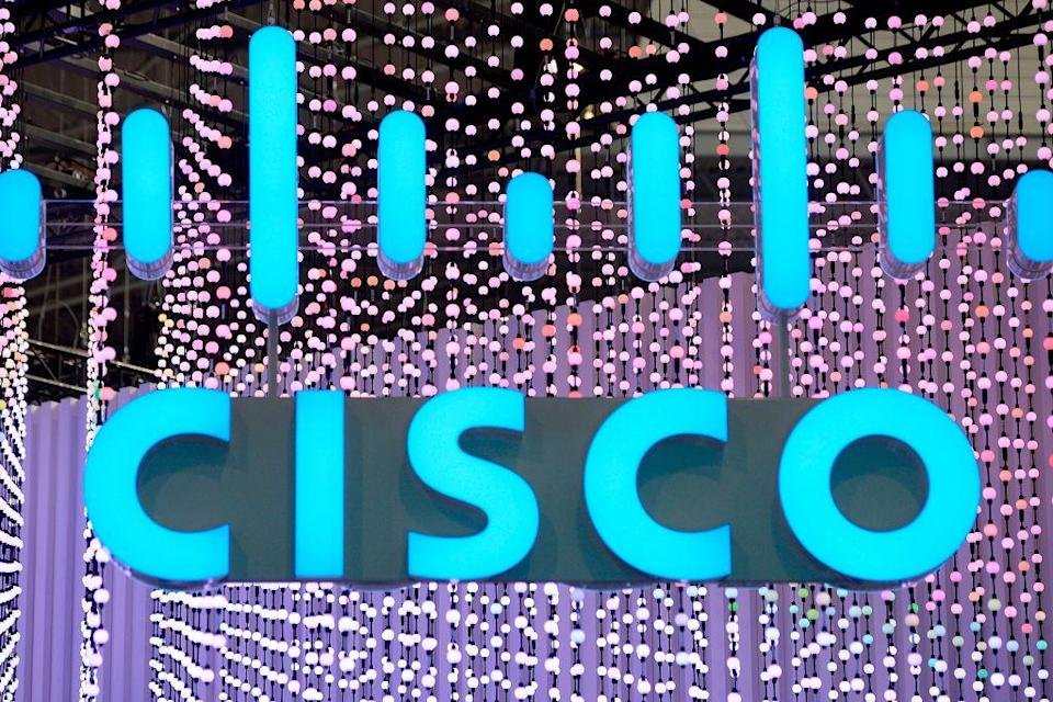 The Cisco Systems logo is displayed at the Mobile World Congress (MWC) in Barcelona on February 25, 2019. - Phone makers will focus on foldable screens and the introduction of blazing fast 5G wireless networks at the world's biggest mobile fair starting February 25 in Spain as they try to reverse a decline in sales of smartphones. (Photo by Josep LAGO / AFP) (Photo credit should read JOSEP LAGO/AFP via Getty Images)