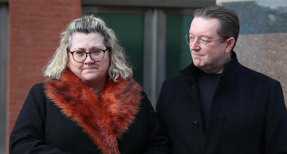 Lisa and Russell Squire, the parents of student Libby Squire, outside Sheffield Crown Court, where Pawel Relowicz has been found guilty of raping and murdering the Hull University student. Source: AAP