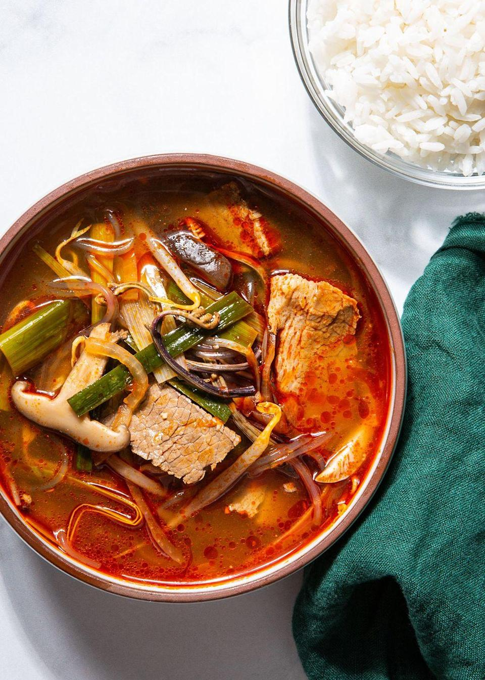 """<p>If you haven't had it, it's life changing. If you have had it, you have dreamed about making it at home.</p><p>Get the recipe from <a href=""""https://www.delish.com/cooking/recipe-ideas/a35047733/korean-soup-yukgaejang-recipe/"""" rel=""""nofollow noopener"""" target=""""_blank"""" data-ylk=""""slk:Delish"""" class=""""link rapid-noclick-resp"""">Delish</a>.</p>"""