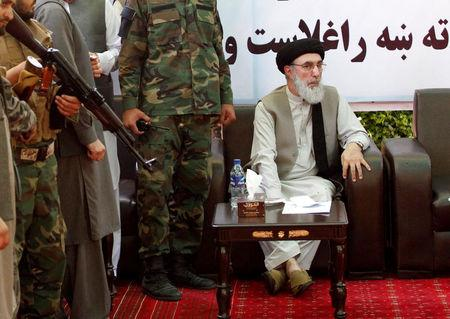 Afghan warlord Gulbuddin Hekmatyar arrives to speak to supporters in Laghman province