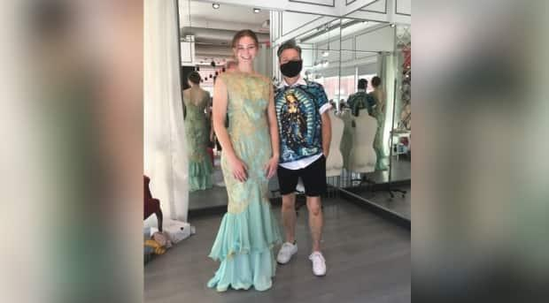 Lauren Hodgins and Dean Renwick. Hodgins and Renwick worked together to redesign a vintage gown that belonged to Lauren's grandmother. (Pam Schwann - image credit)