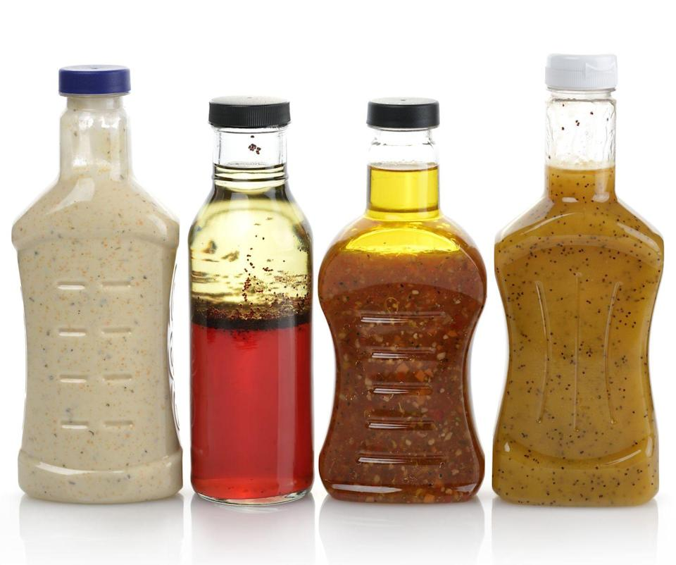 """<p>According to <em>U.S. News & World Report</em>, <a href=""""https://health.usnews.com/health-news/blogs/eat-run/articles/2017-01-24/why-you-should-pretty-much-never-buy-salad-dressing-at-the-grocery-store"""" rel=""""nofollow noopener"""" target=""""_blank"""" data-ylk=""""slk:bottled dressing often has more than a dozen ingredients"""" class=""""link rapid-noclick-resp"""">bottled dressing often has more than a dozen ingredients</a>, and some have 120 calories per serving. A better idea is to skip the dressing and make a light vinaigrette at home. Many use just three or four ingredients and taste fresher. Another plus: You aren't left with bottles of half-used salad dressing filling up your refrigerator.</p>"""