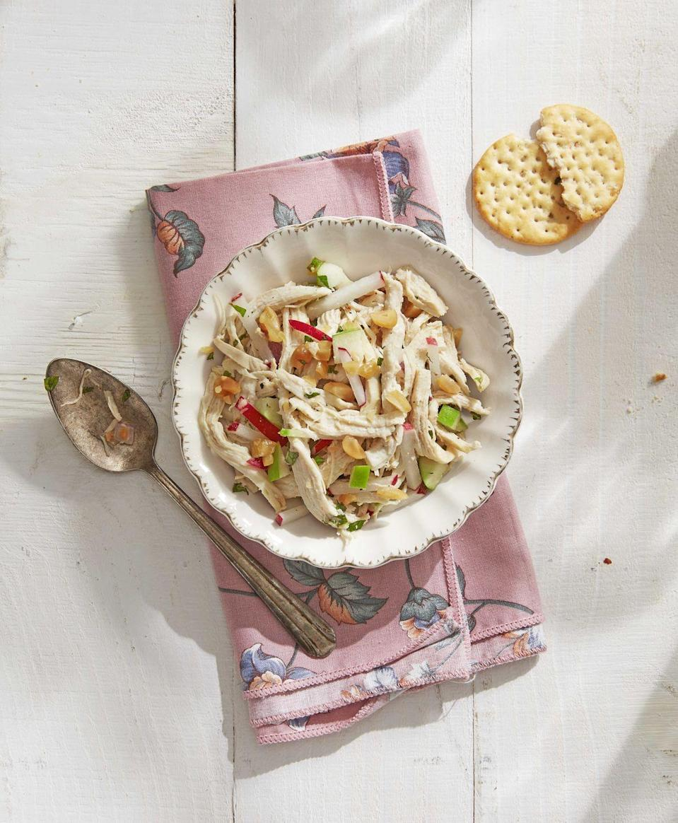 "<p>Unusual ingredients (savory fish sauce, bright lime juice, sweet honey, and spicy radishes) make this chicken salad a real standout.</p><p><strong><a href=""https://www.countryliving.com/food-drinks/a30614239/thai-style-chicken-salad-recipe/"" rel=""nofollow noopener"" target=""_blank"" data-ylk=""slk:Get the recipe."" class=""link rapid-noclick-resp"">Get the recipe.</a></strong><br> </p>"
