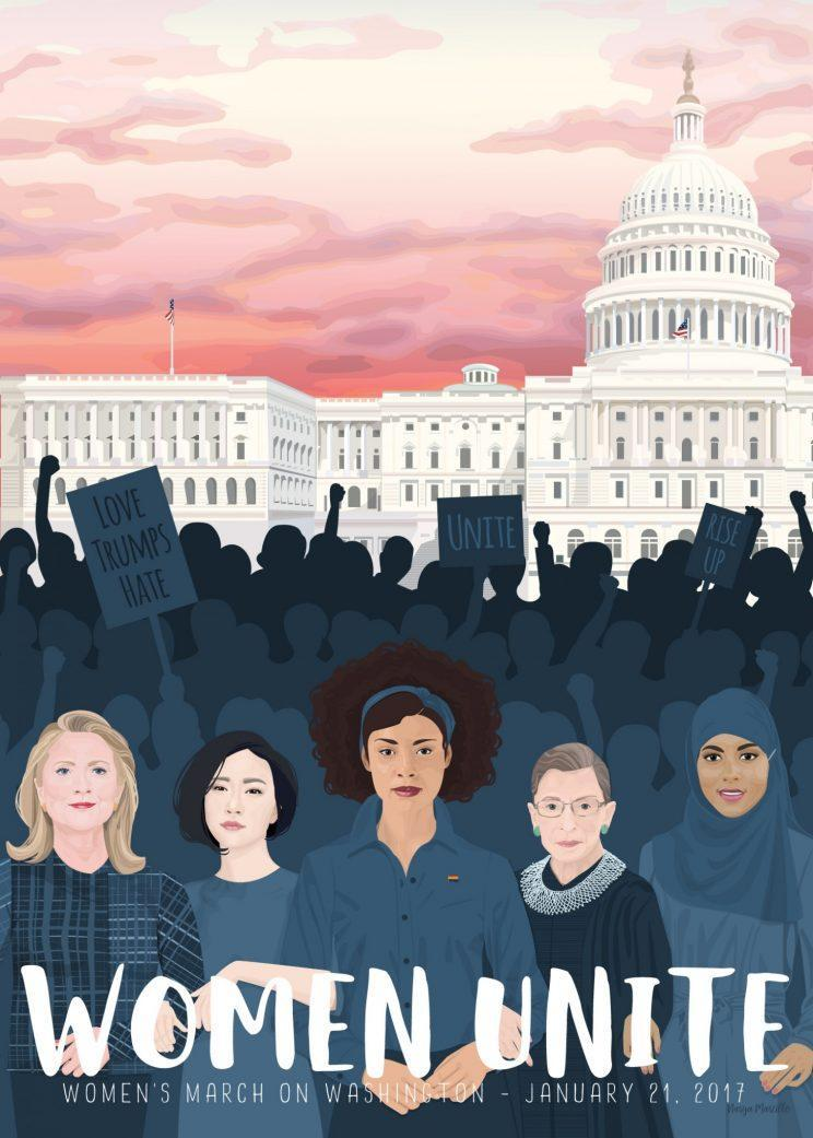 Narya Marcille's poster design has caught the attention of women on Pantsuit Nation. (Artwork: Narya Marcille)