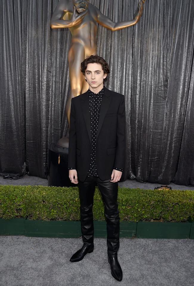 "<p>Timothée attended the <a href=""https://www.popsugar.com/celebrity/Best-Pictures-From-2019-SAG-Awards-45717402"" class=""ga-track"" data-ga-category=""Related"" data-ga-label=""https://www.popsugar.com/celebrity/Best-Pictures-From-2019-SAG-Awards-45717402"" data-ga-action=""In-Line Links"">2019 Screen Actors Guild Awards</a> in a polka-dot button-up, blazer, and leather trousers by Celine.</p>"