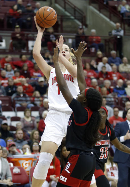 Ohio State forward Dorka Juhasz shoots over Louisville guard Dana Evans during the second half of an NCAA college basketball game in Columbus, Ohio, Thursday, Dec. 5, 2019. (AP Photo/Paul Vernon)
