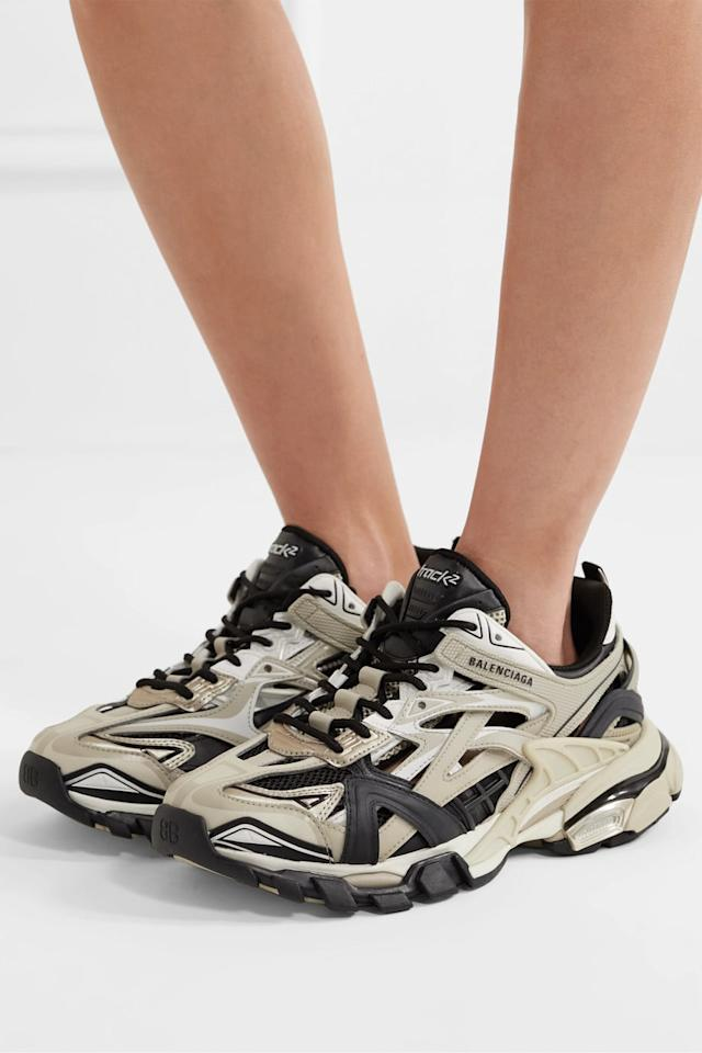 """<p>These <product href=""""https://www.net-a-porter.com/us/en/product/1236816/Balenciaga/track-2-logo-detailed-metallic-mesh-and-rubber-sneakers"""" target=""""_blank"""" class=""""ga-track"""" data-ga-category=""""internal click"""" data-ga-label=""""https://www.net-a-porter.com/us/en/product/1236816/Balenciaga/track-2-logo-detailed-metallic-mesh-and-rubber-sneakers"""" data-ga-action=""""body text link"""">Balenciaga Track Sneakers</product> ($895) can only be described as badass.</p>"""