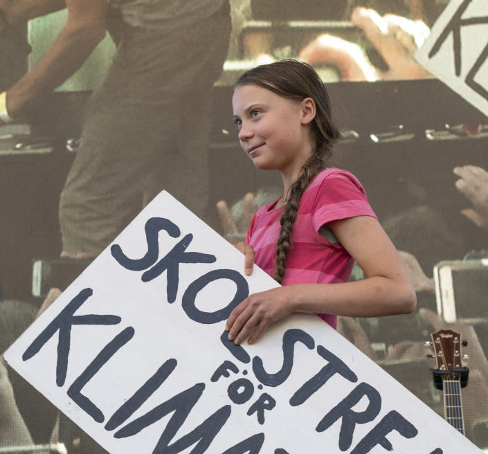 BATTERY PARK, NEW YORK, UNITED STATES - 2019/09/20: Greta Thunberg speaks on stage during NYC Climate Strike rally and demonstration at Battery Park. (Photo by Ron Adar/SOPA Images/LightRocket via Getty Images)