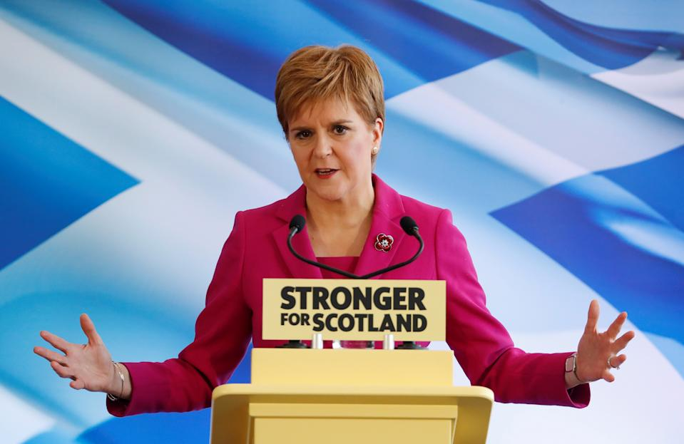Scotland's First Minister Nicola Sturgeon speaks during the SNP general election campaign launch in Edinburgh, Scotland, Britain November 8, 2019. REUTERS/Russell Cheyne