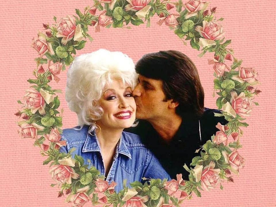 Dolly Parton and her husband, Carl Dean, against a pink background surrounded by flowers