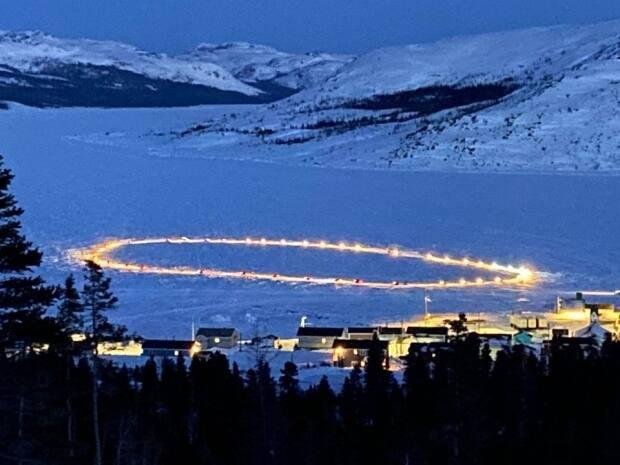 A circle of lights was formed as a tribute to the nine community members Nain has lost in recent weeks.