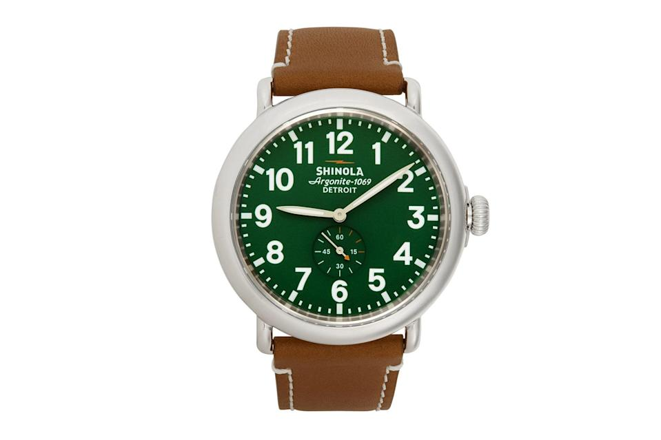 "$550, SSENSE. <a href=""https://www.ssense.com/en-us/men/product/shinola/silver-and-green-the-runwell-47mm-watch/5981451"" rel=""nofollow noopener"" target=""_blank"" data-ylk=""slk:Get it now!"" class=""link rapid-noclick-resp"">Get it now!</a>"