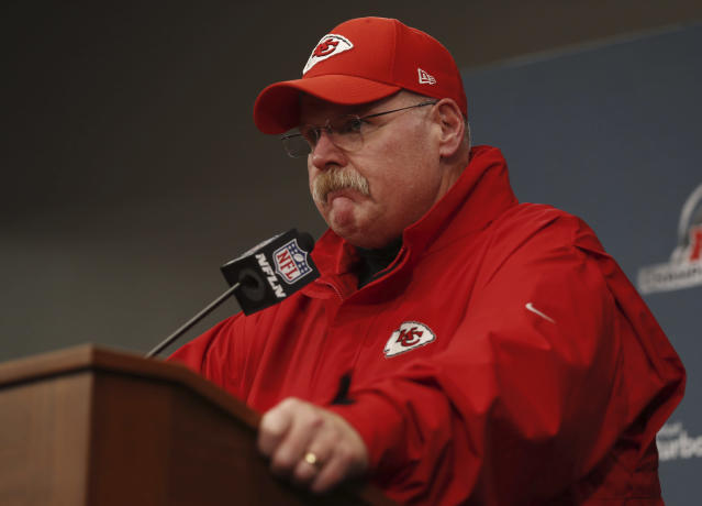 A Kansas City sports radio host is suspended until further notice after comments he made Monday about Chiefs head coach Andy Reid, above. (AP)