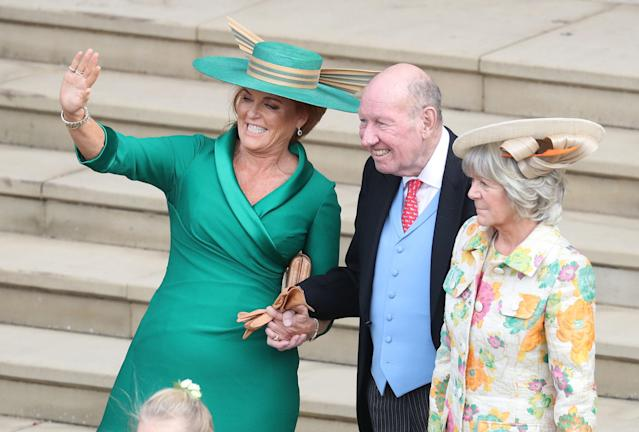 George Brooksbank with his wife Nicola and Sarah Ferguson at the wedding in 2018. (Getty Images)