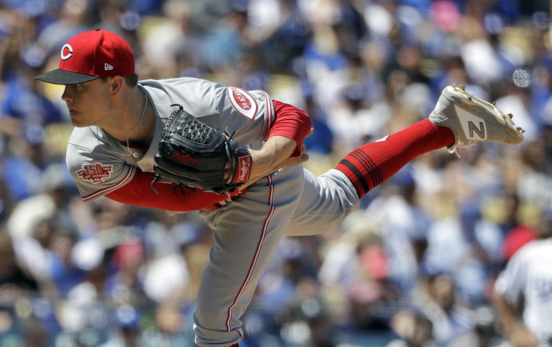 Cincinnati Reds starting pitcher Sonny Gray throws to the Los Angeles Dodgers during the fifth inning of a baseball game Wednesday, April 17, 2019, in Los Angeles. (AP Photo/Marcio Jose Sanchez)