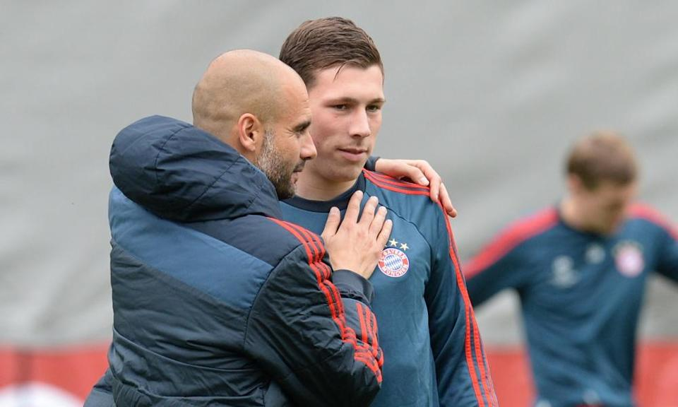 Pierre-Emile Højbjerg with Pep Guardiola at Bayern Munich, where the midfielder learned much about 'mentality'.