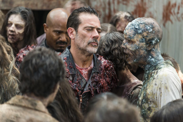 <p>Jeffrey Dean Morgan as Negan and Seth Gilliam as Father Gabriel Stokes in AMC's <i>The Walking Dead.<br> (Photo: Gene Page/AMC)</i> </p>