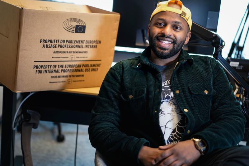 Britain's MEP of the Green party Magid Magid poses during a photo session in his office at the European Parliament in Brussels on January 23, 2020. (Photo by Kenzo TRIBOUILLARD / AFP) (Photo by KENZO TRIBOUILLARD/AFP via Getty Images)
