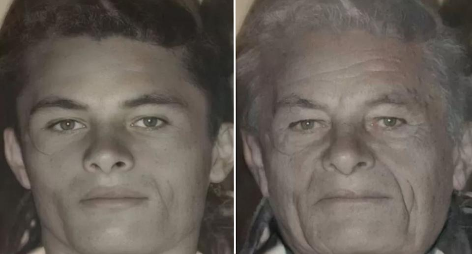 The image of Geraldo when he was 20 and the face-ageing result of what he'd look like now. Source: Newsflash/Australscope