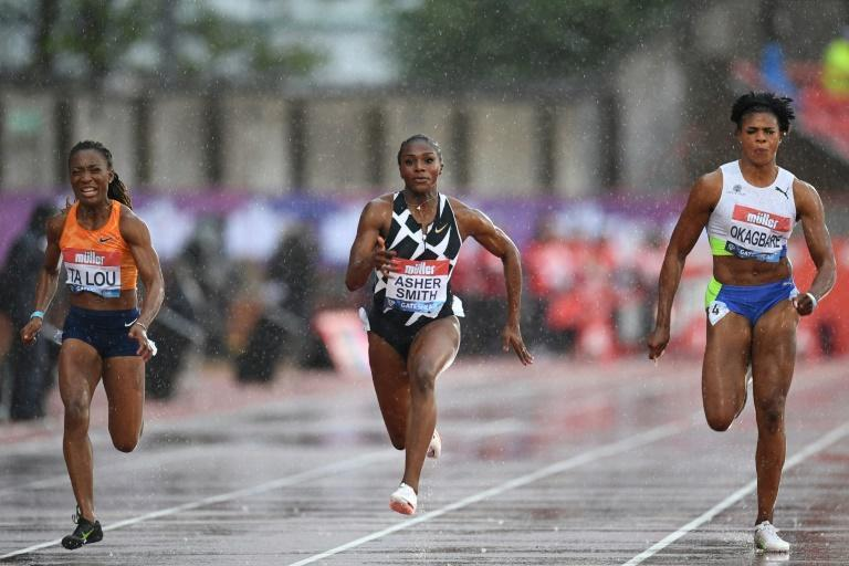 Britain's Dina Asher-Smith (centre) wins the women's 100m final at the Diamond League meeting in Gateshead