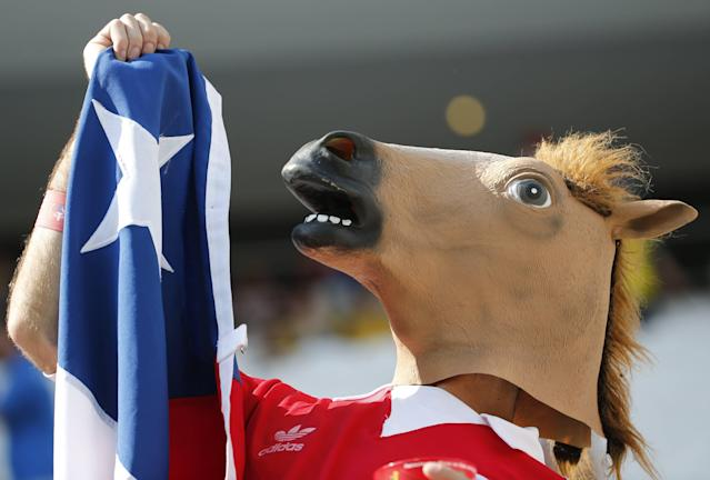 A fan of the Chile with a mask poses before the start of the 2014 World Cup Group B soccer match against Netherlands at the Corinthians arena in Sao Paulo June 23, 2014. REUTERS/Sergio Moraes (BRAZIL - Tags: SOCCER SPORT WORLD CUP)
