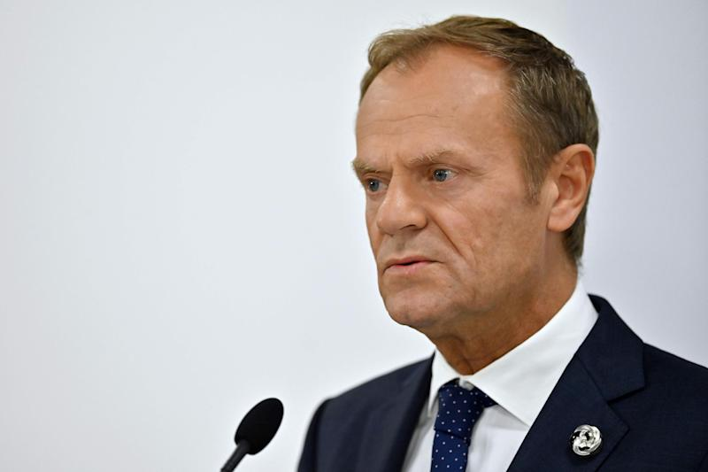 Donald Tusk attends a press conference during the G20 Osaka Summit: AFP/Getty Images
