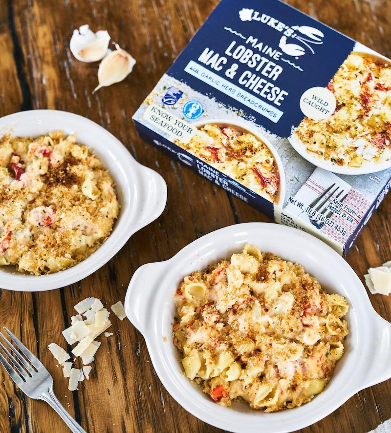 A ceramic bowl filled with Lobster Mac & Cheese
