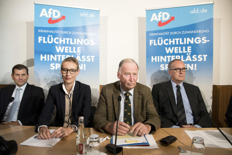 The AfD's main candidates for the federal elections, Alice Weidel (center left) and Alexander Gauland (center right). (NurPhoto via Getty Images)