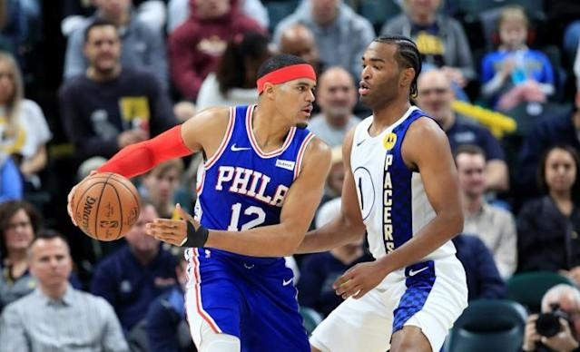 Tobias Harris, here playing against Indiana in December, hit three clutch shots to help Philadelphia beat Brooklyn (AFP Photo/ANDY LYONS)