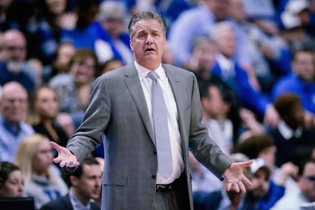 John Calipari's daughters found several reasons to roast their dad on Twitter over the weekend. (Photo by Dylan Buell/Getty Images)