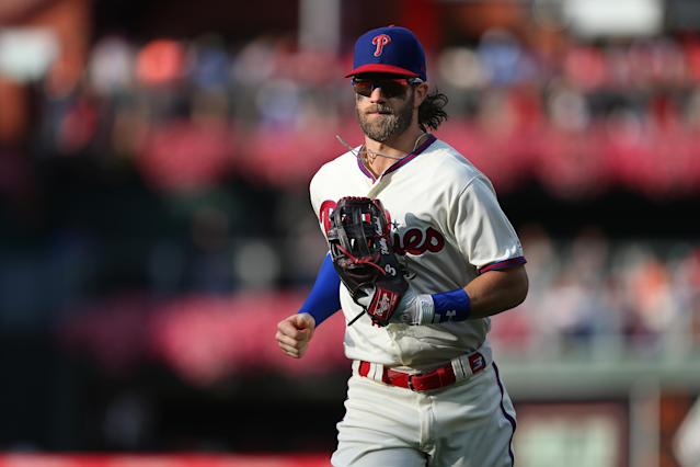 """If the Phillies have any hope of overtaking Bryce Harper's former team, the defending champion <a class=""""link rapid-noclick-resp"""" href=""""/mlb/teams/washington/"""" data-ylk=""""slk:Washington Nationals"""">Washington Nationals</a>, they need the 2015 NL MVP to reassert himself as a dominant hitter. (Photo by Rich Schultz/Getty Images)"""