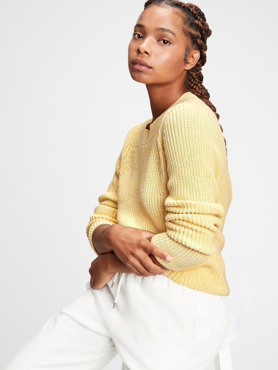 <p>The soft yellow of this <span>Gap Relaxed Ribbed Crewneck Sweater</span> ($29) is a perfect way to ease yourself into the color without being overwhelmed. We also love the cozy fit as an everyday pullover.</p>