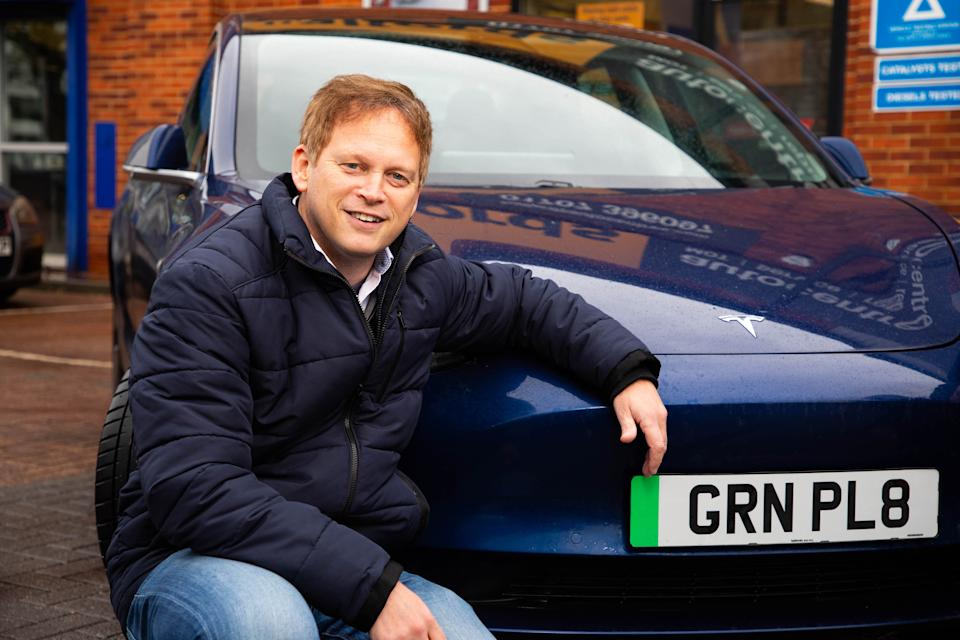 Secretary of State for Transport Grant Shapps revealed the new green number plates for electric cars earlier this year. (Getty)