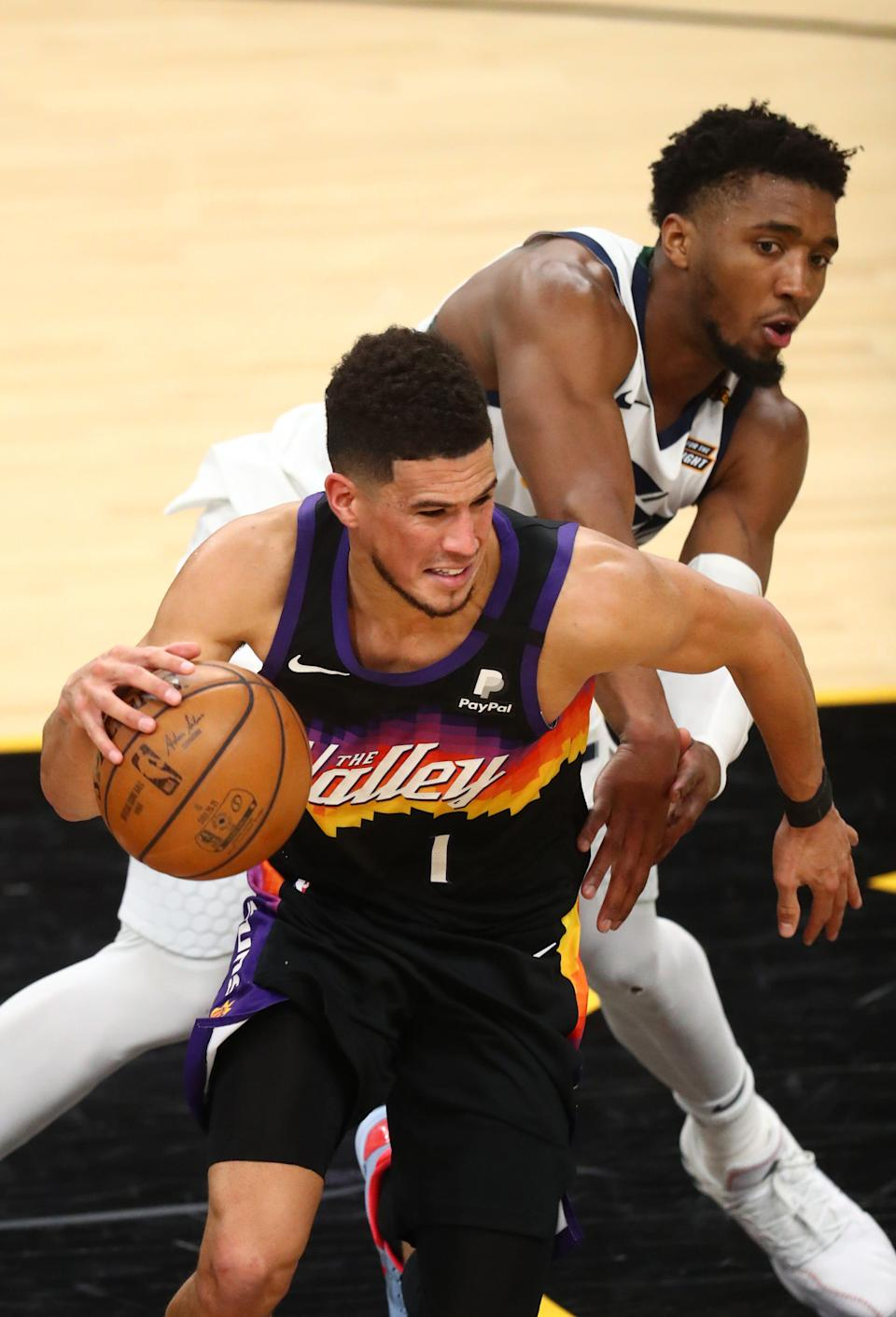 Is Devin Booker (1) and the Suns prepared to make a serious run at an NBA title? Or is Donovan Mitchell and the Jazz a better bet as a contender?
