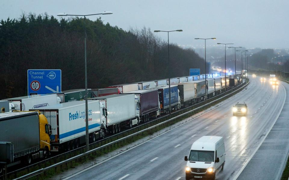 Lorries parked on the M20 near Folkestone, Kent, as part of Operation Stack after the Port of Dover was closed and access to the Eurotunnel terminal suspended following the French government's announcement that it will not accept any passengers arriving from the UK for the next 48 hours - Steve Parsons/PA Wire