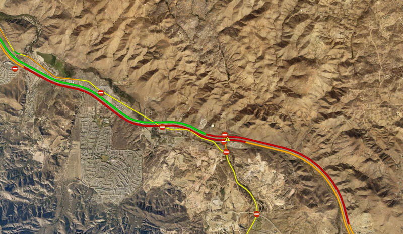 Traffic conditions in Lake Elsinore at about 11:20 a.m. March 23, 2019.