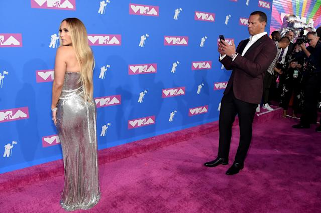 Alex Rodriguez was totally into girlfriend Jennifer Lopez at the MTV Video Music Awards, and it showed. (Photo: Getty)