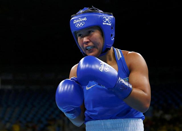 FILE PHOTO: 2016 Rio Olympics - Boxing - Quarterfinal - Women's Fly (51kg) Quarterfinals Bout 231 - Riocentro - Pavilion 6 - Rio de Janeiro, Brazil - 16/08/2016. Zhaina Shekerbekova (KAZ) of Kazakhstan competes. REUTERS/Peter Cziborra FOR EDITORIAL USE ONLY. NOT FOR SALE FOR MARKETING OR ADVERTISING CAMPAIGNS. Picture Supplied by Action Images/File Photo