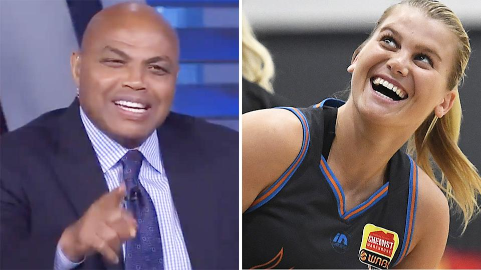 NBA great Charles Barkley couldn't help but crack a joke after Shane Heal's daughter Shyla Heal was selected in the WNBA draft. Pictures: NBA on TNT/Getty Images